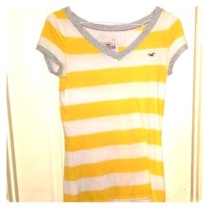 Gently used hollister vee neck striped tee